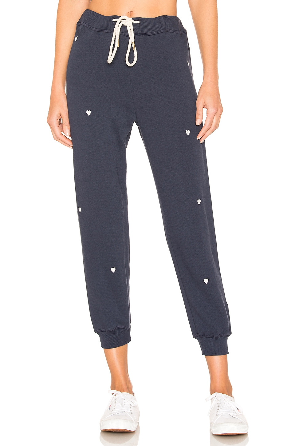 The Great The Cropped Sweatpant in Navy With Heart Embroidery