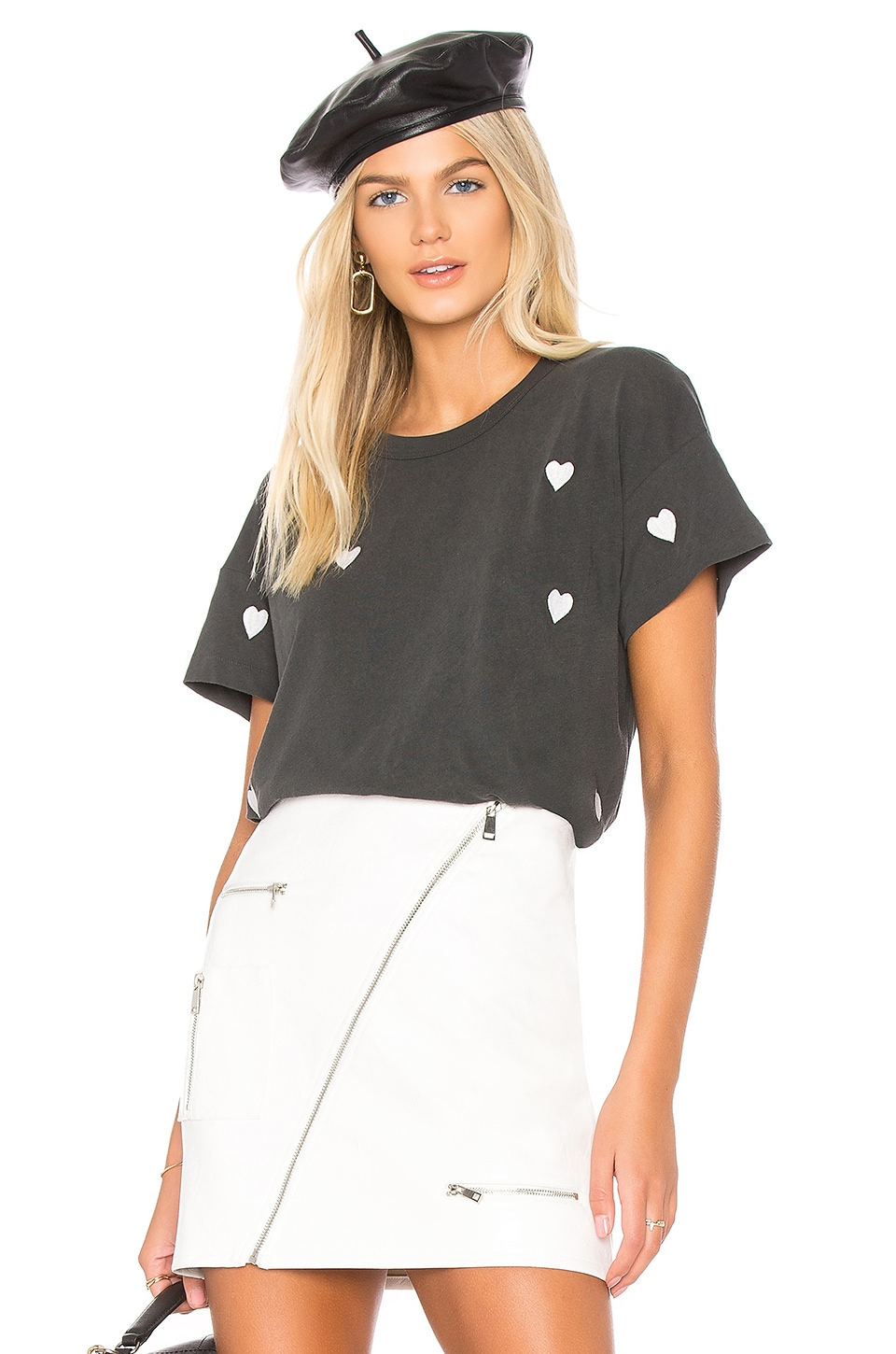 The Great The Boxy Crew in Washed Black With White Hearts
