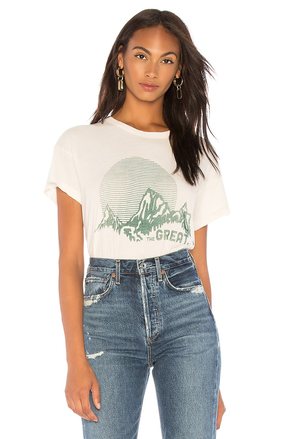 THE GREAT The Boxy Crew Distressed Printed Cotton-Jersey T-Shirt in Cream