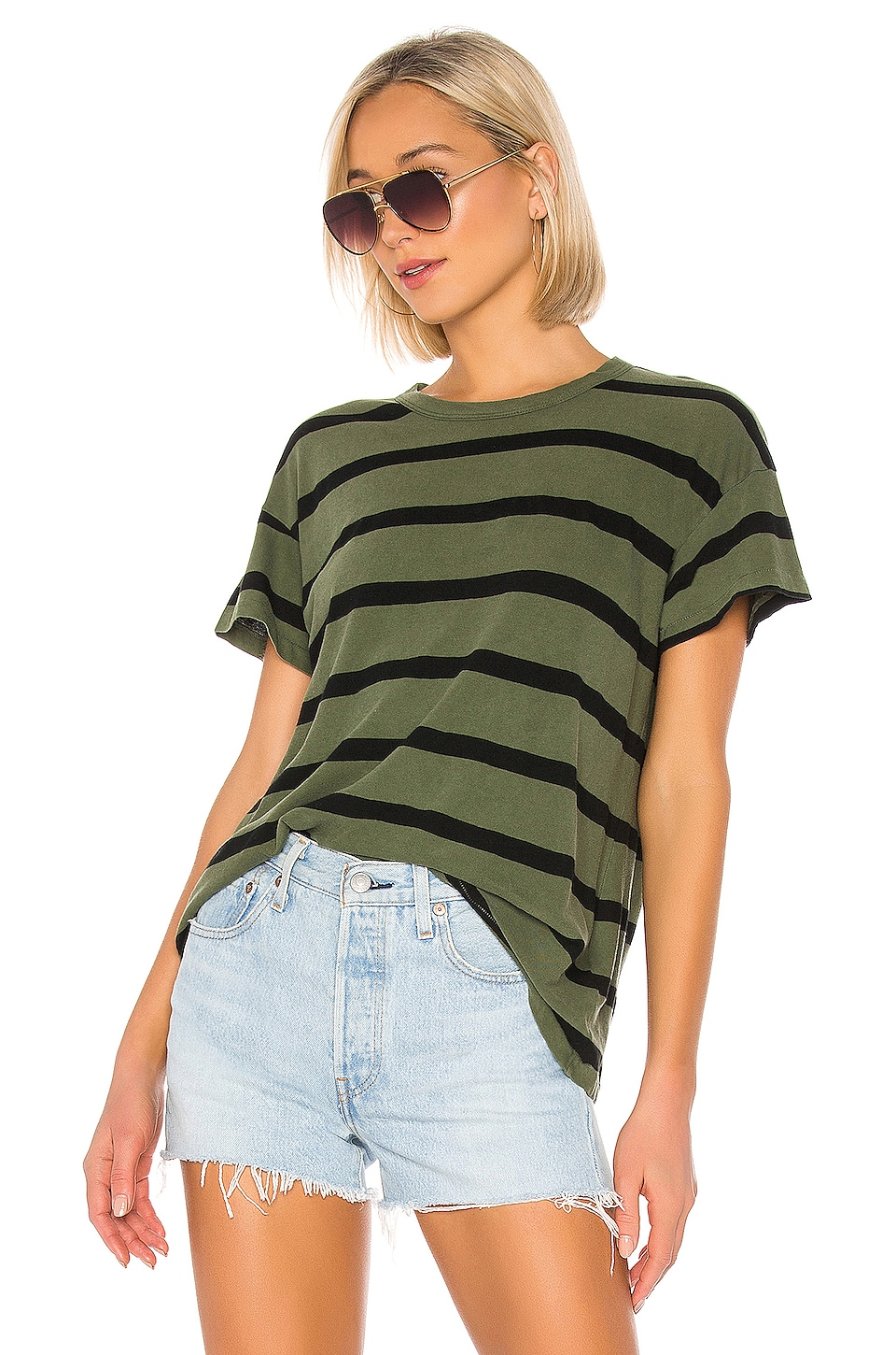 The Great The Boxy Crew in Olive Stripe