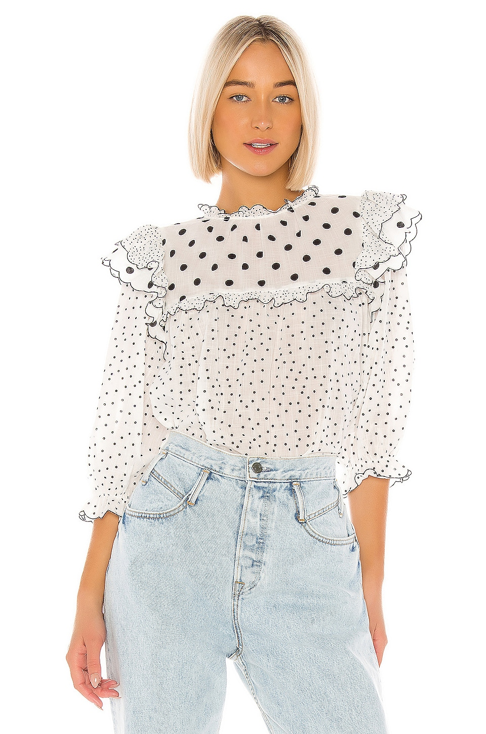 The Great The Doll Top in Black & White Polka Dot