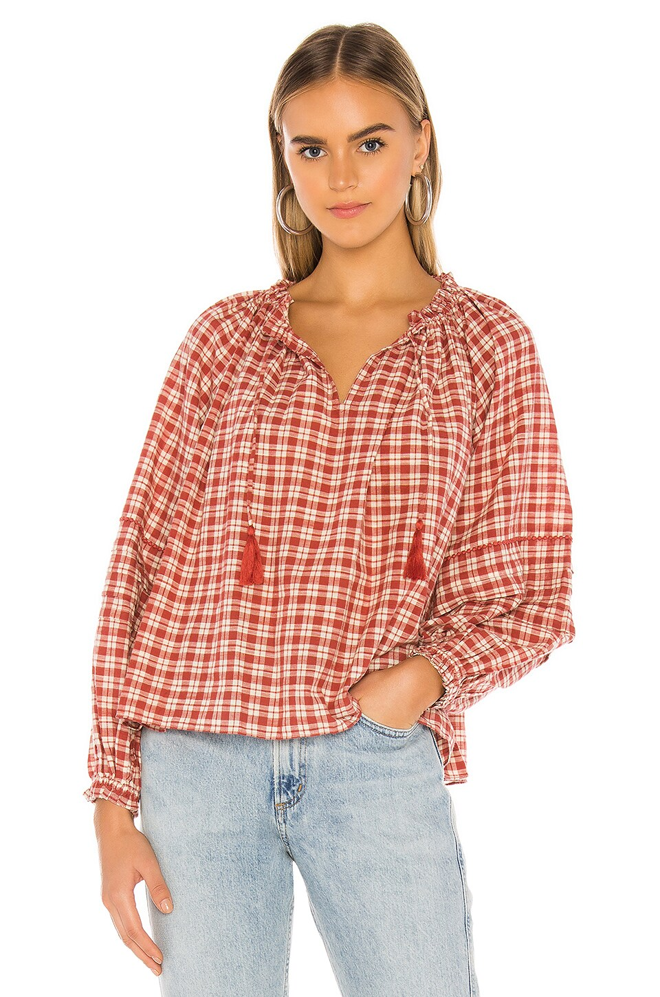 The Great The Study Blouse in Park Plaid