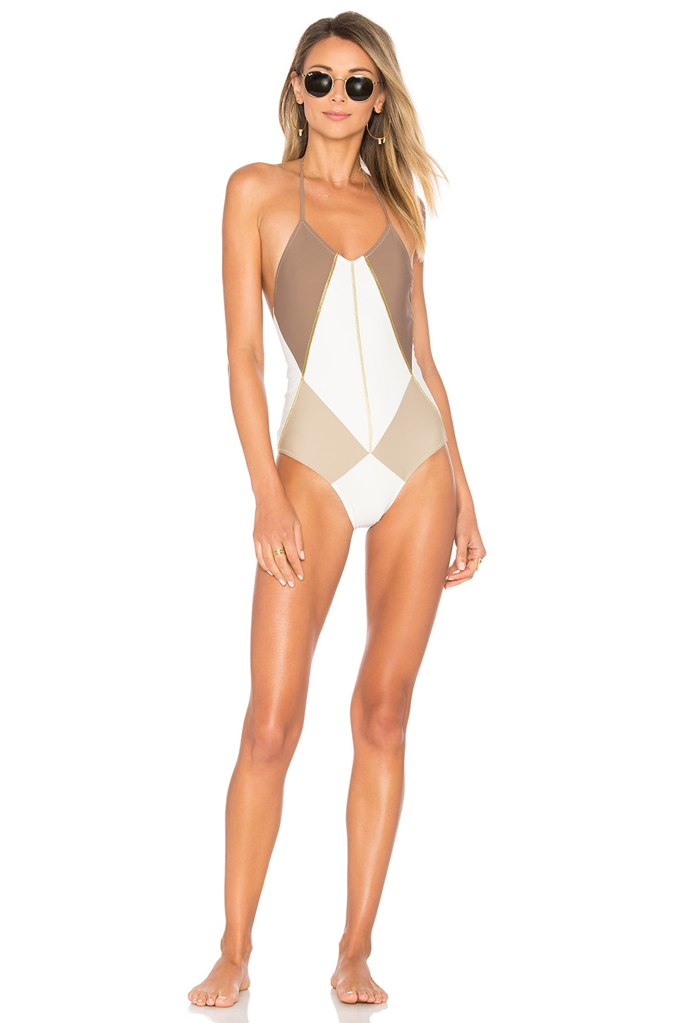 Gregor Pirouzi Isadora One Piece in Brown Sand & White