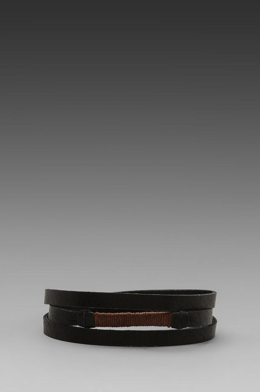 griffin Legend Leather Triple Wrap Bracelet in Black