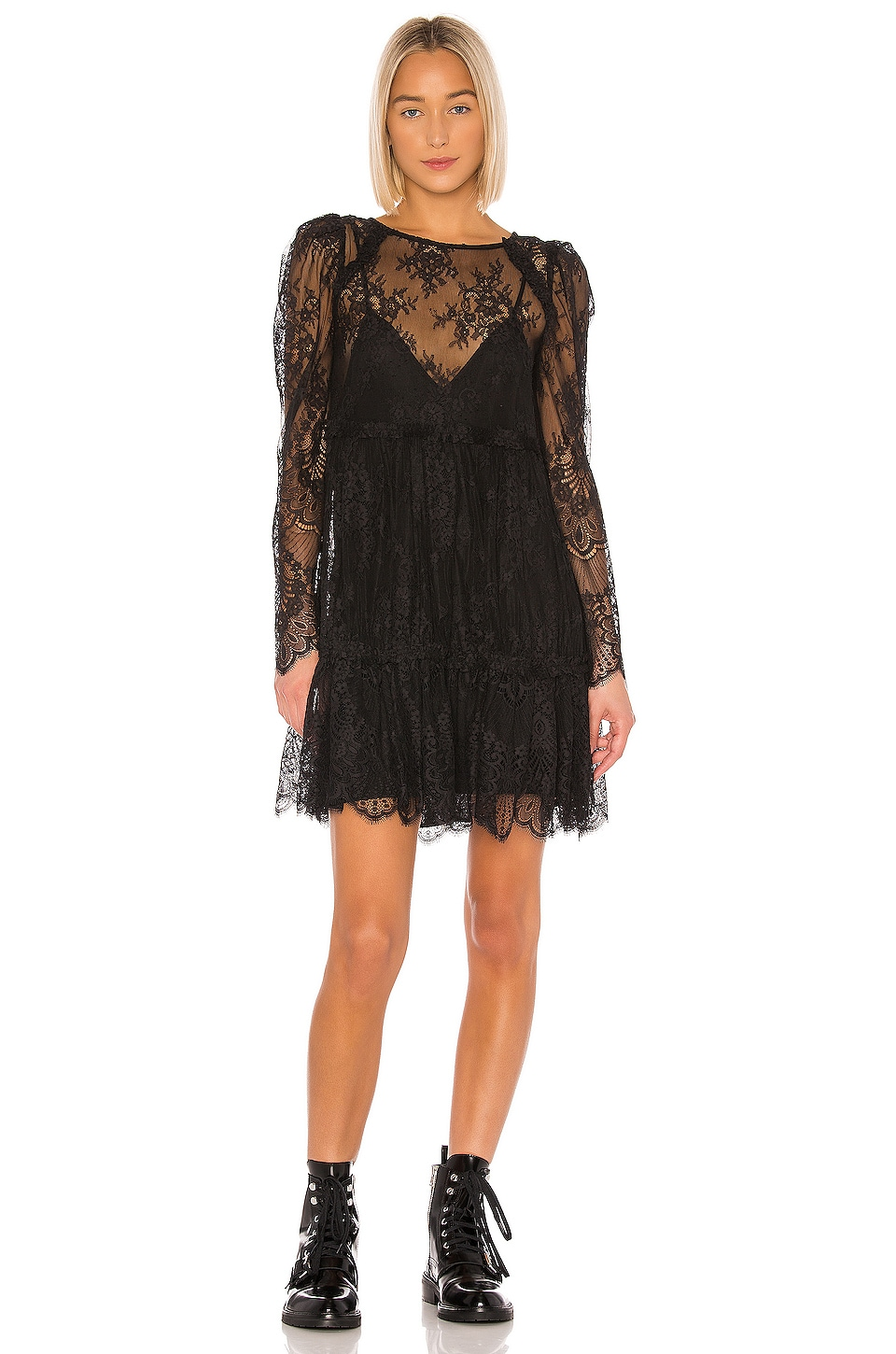 GRLFRND Reese Lace Mini Dress in Black