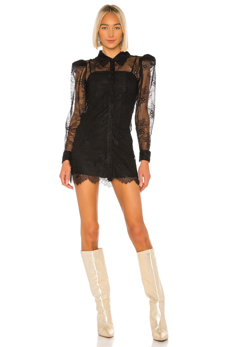 GRLFRND Nadine Mini Dress in Black