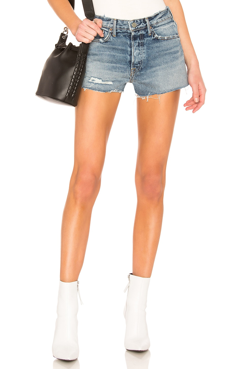 GRLFRND Cindy High-Rise Shorts in Stoned