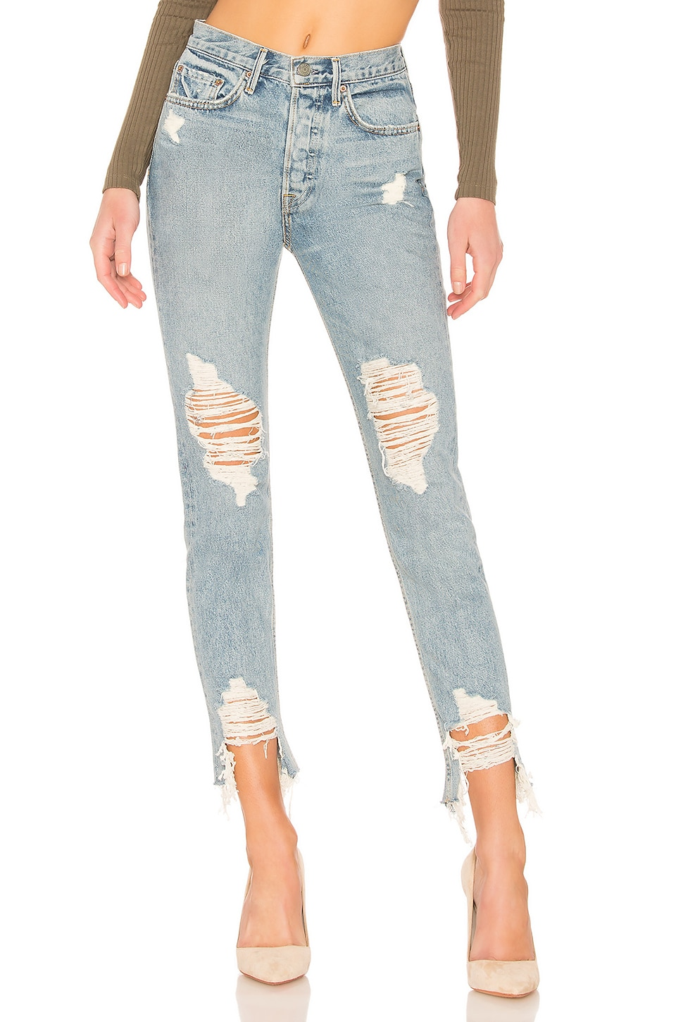 GRLFRND Karolina Crop High-Rise Skinny Jean in Tough Love