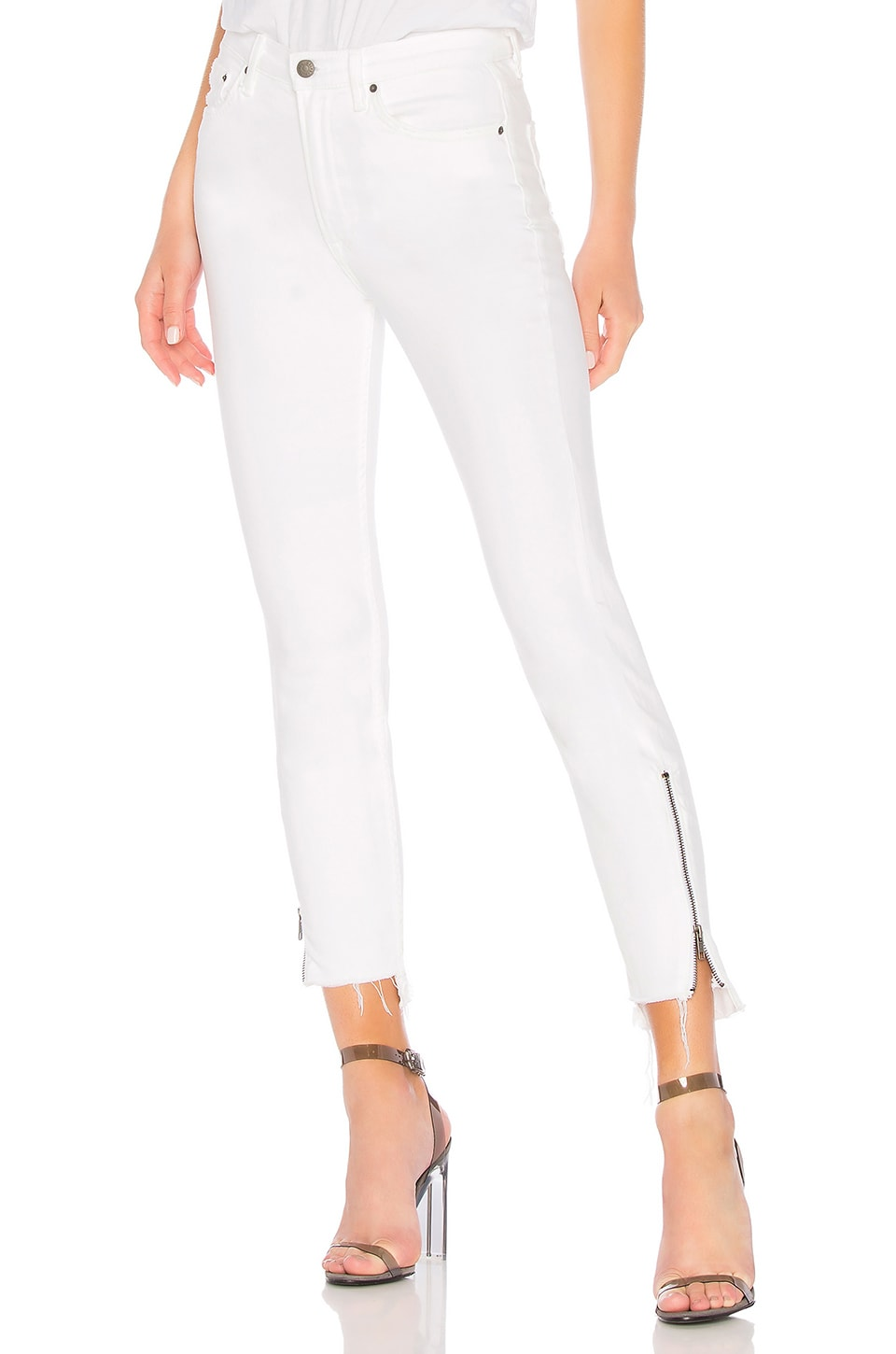GRLFRND Kendall High-Rise Zipper Jean in White Noise