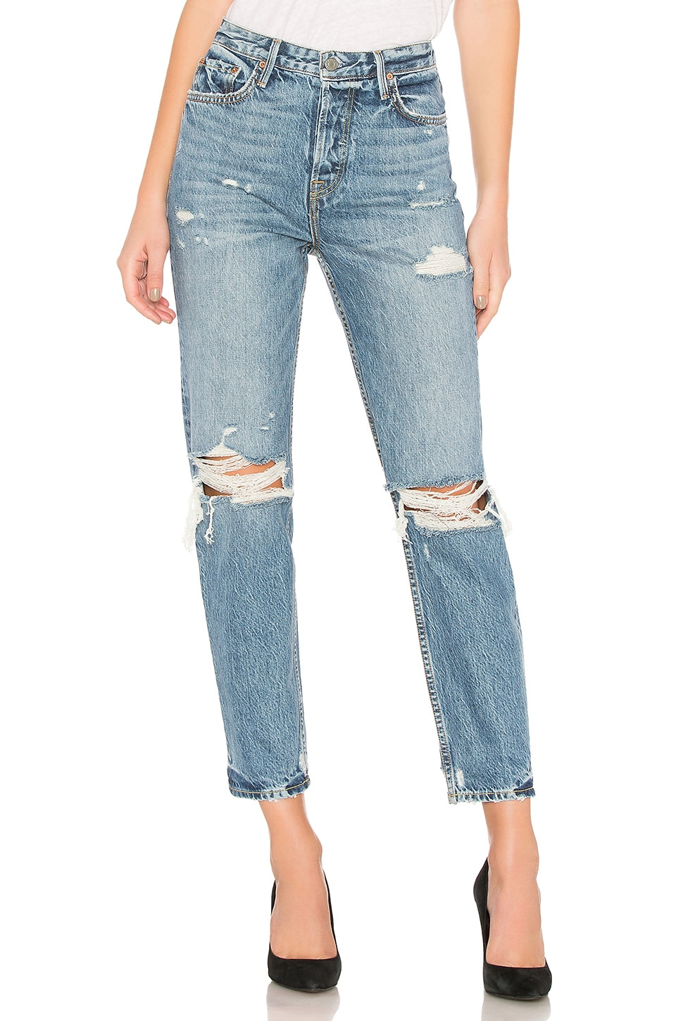 GRLFRND Devon High-Rise Boyfriend Jean in Up Side Down