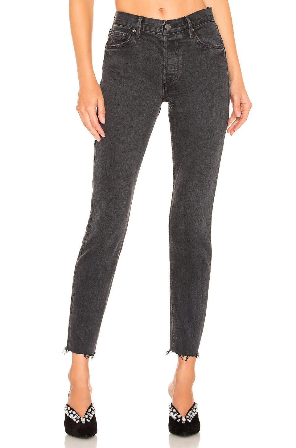 GRLFRND Yasmin Mid-Rise Crop Skinny in Lust For Life