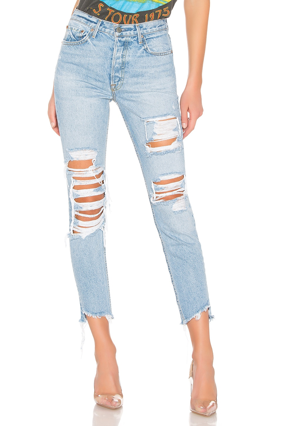 GRLFRND Karolina High-Rise Skinny Crop in Guess Again