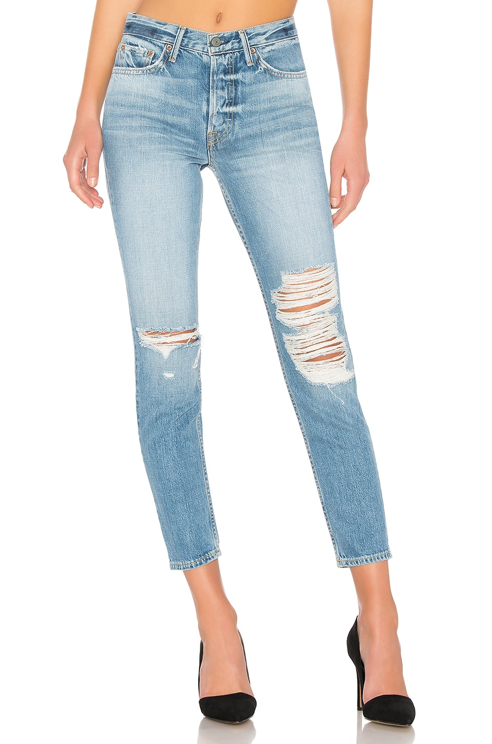 GRLFRND Karolina High-Rise Skinny en Bay Blues