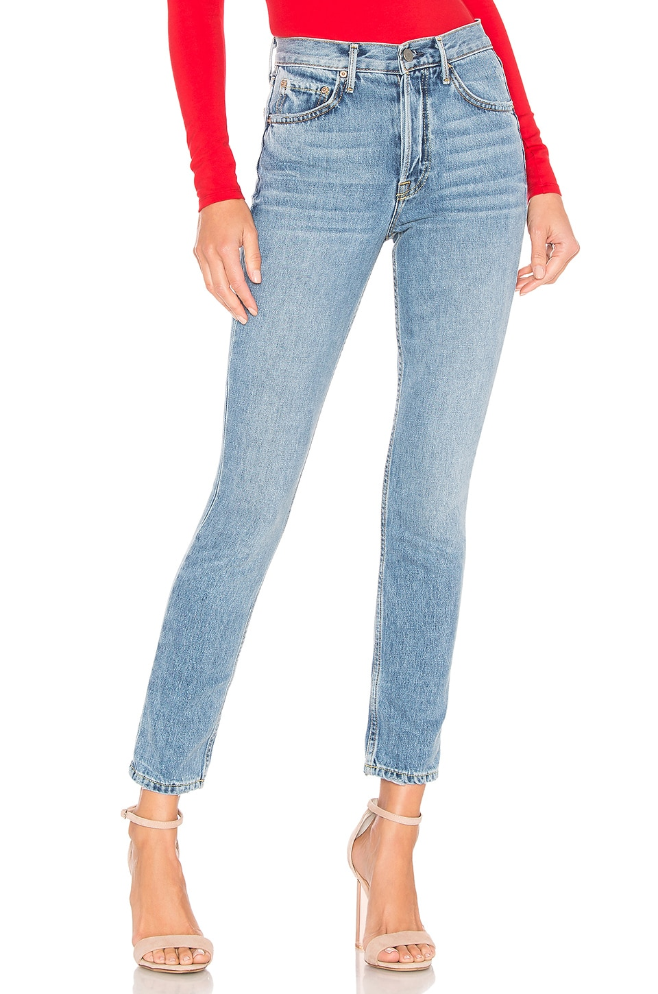 GRLFRND Karolina High-Rise Skinny Crop Jean en Light Years
