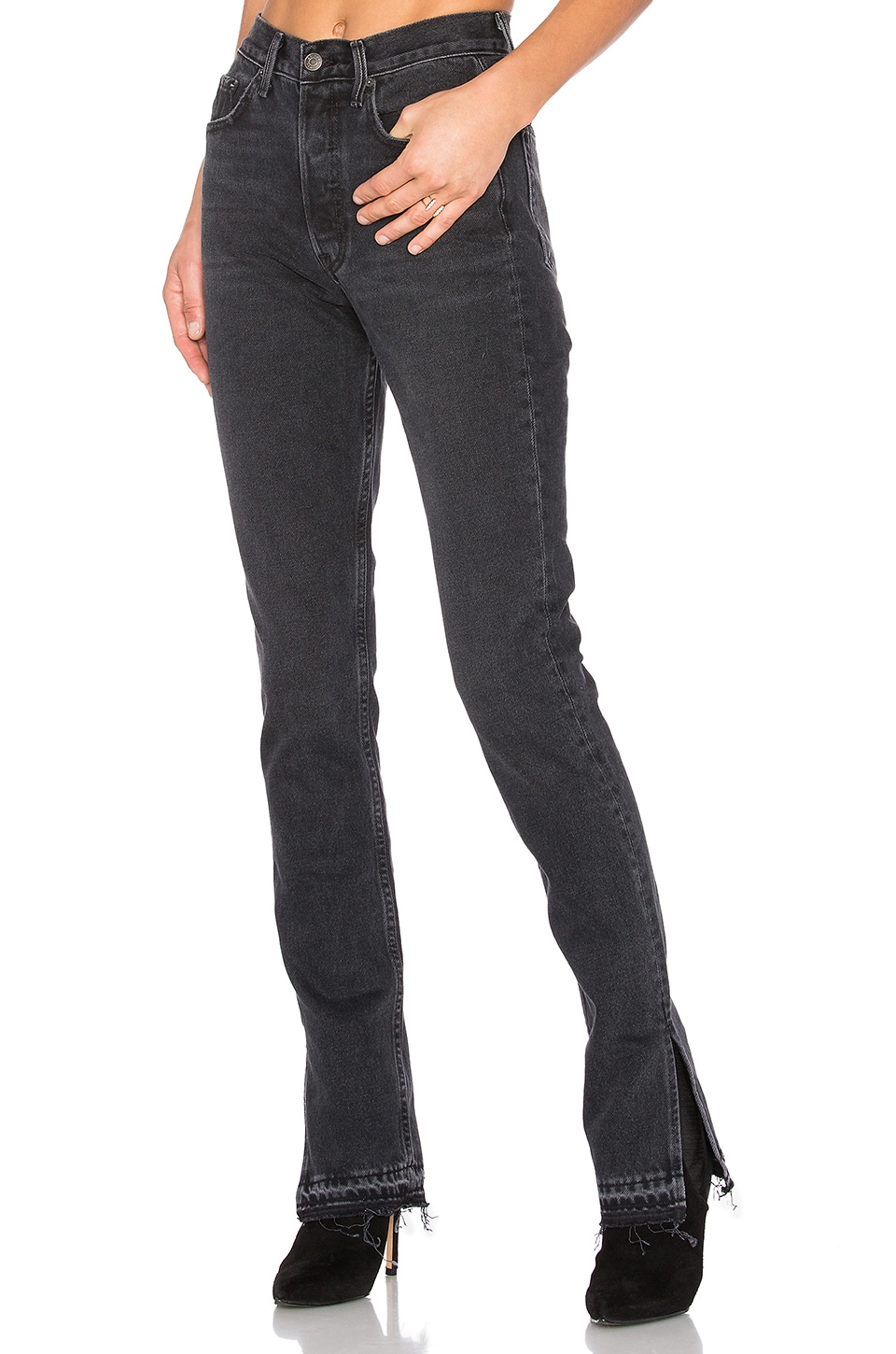GRLFRND Natalia High-Rise Skinny Split Jean in Hot Stuff