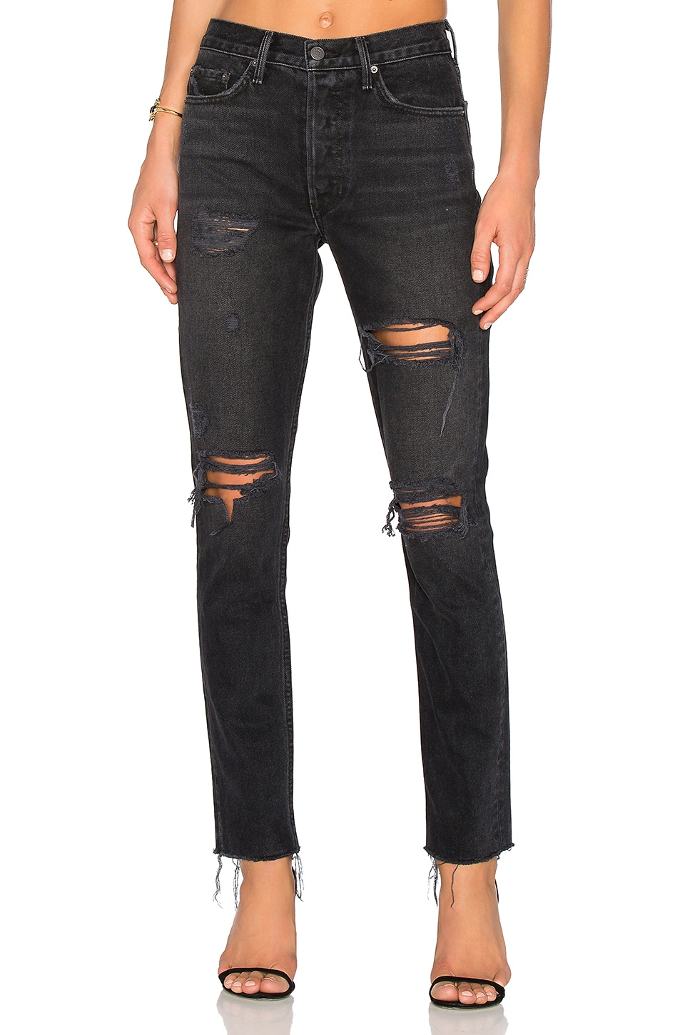 GRLFRND Karolina High-Rise Skinny Jean with Butt Slit in Travelin' Band