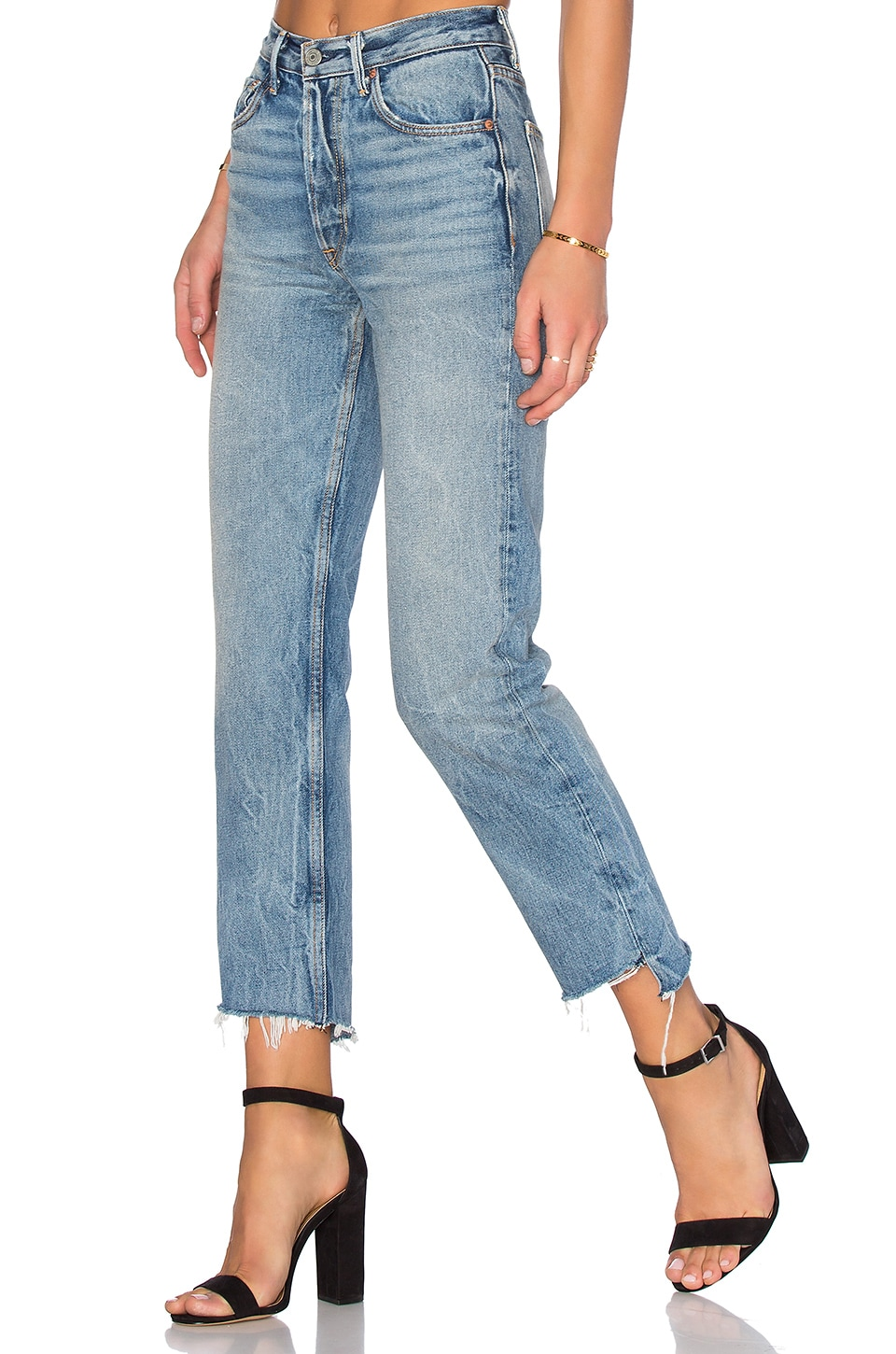 GRLFRND PETITE Helena High-Rise Straight Jean in My Sharona