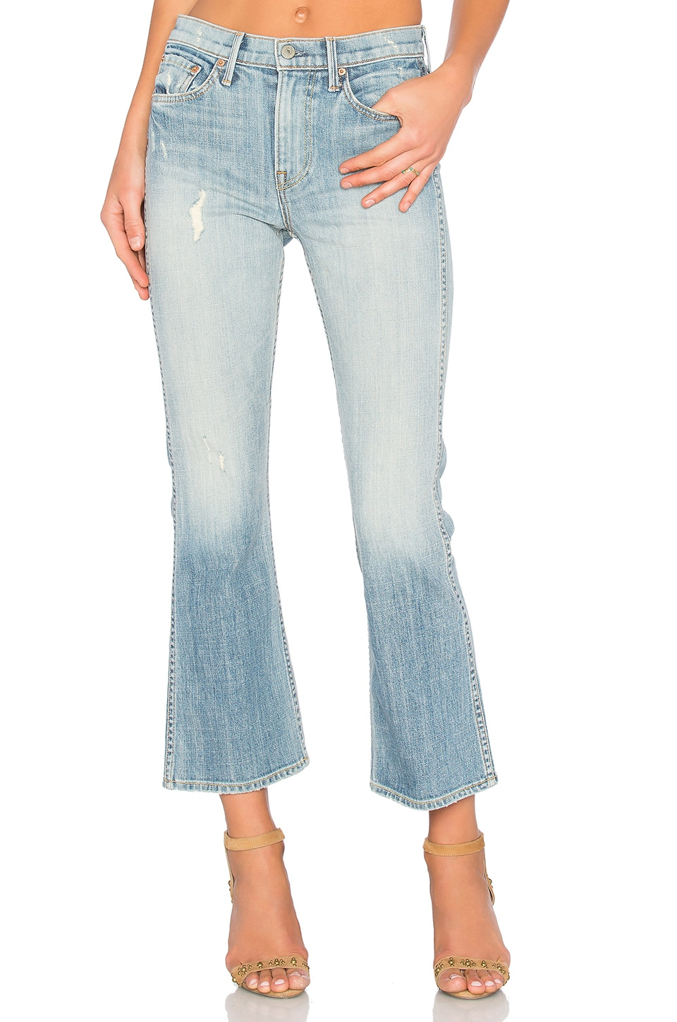 GRLFRND Joan Mid-Rise Crop Flare Jean in Love to Love You, Baby
