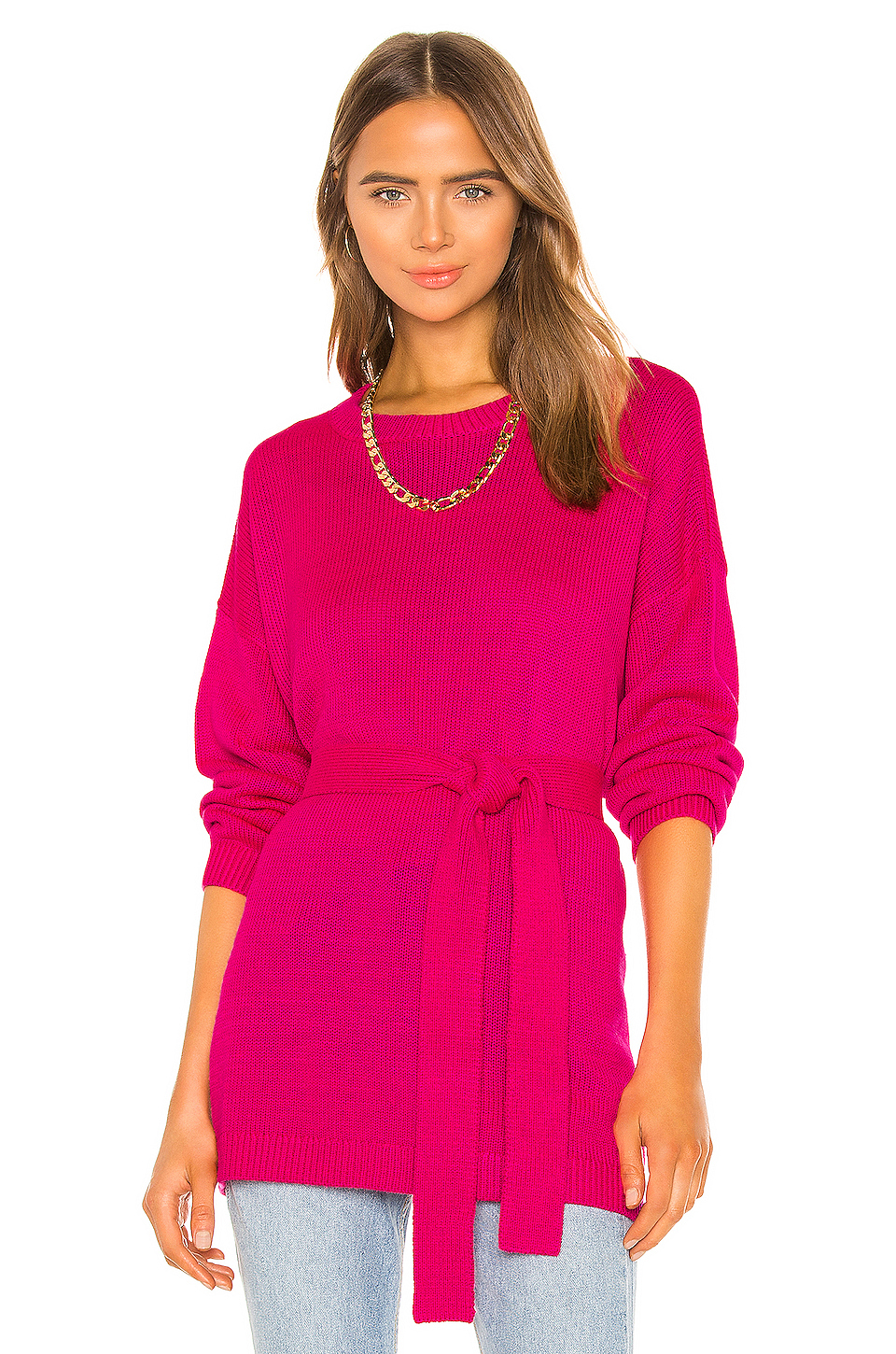 GRLFRND Darren Tunic Sweater in Fuchsia