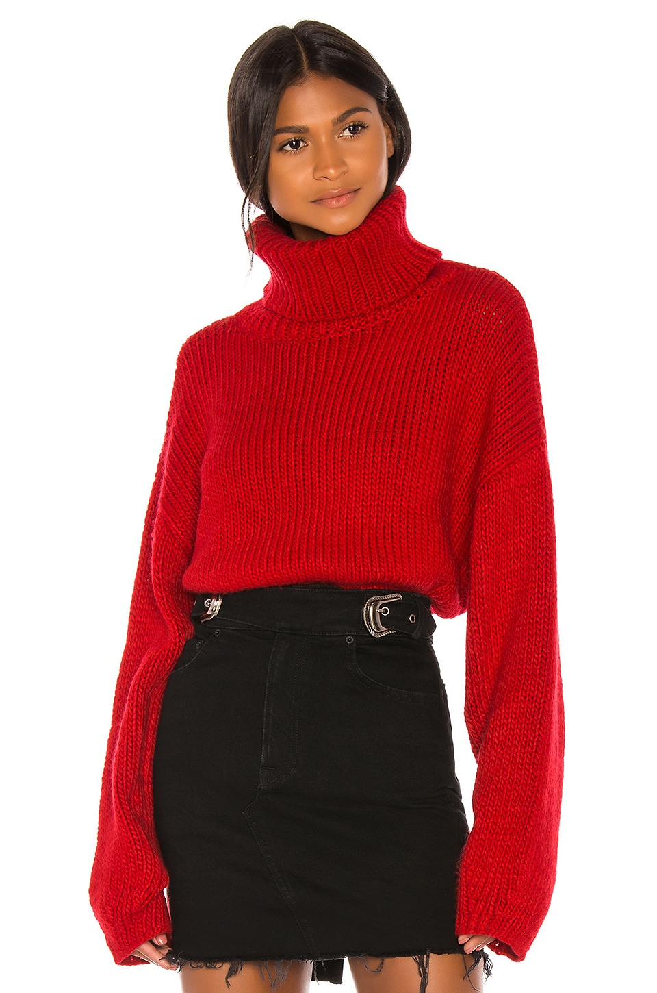 GRLFRND Samantha Turtleneck Sweater in Cherry Red