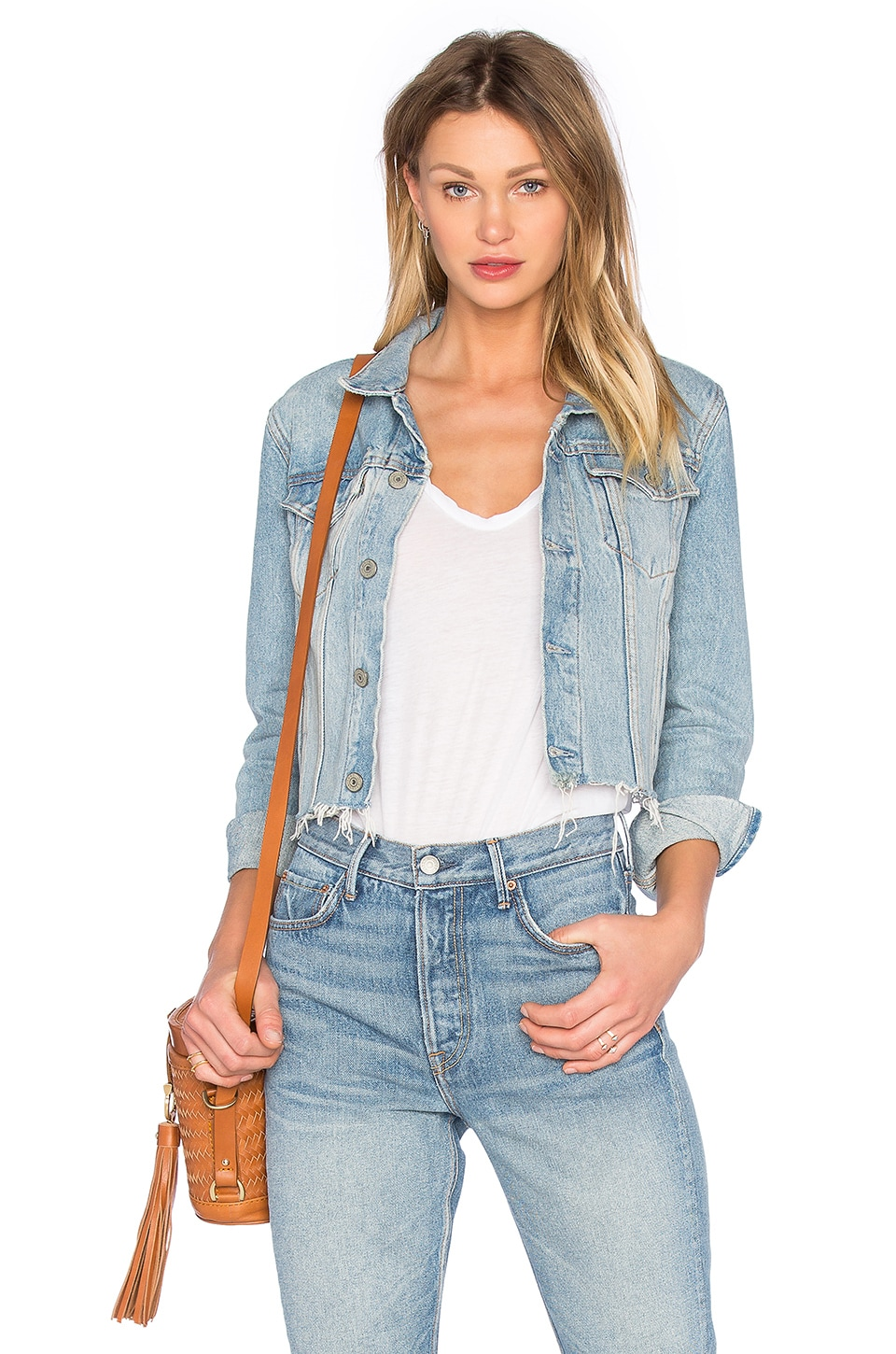 GRLFRND Cara Cropped Trucker Jacket in You Belong to Me