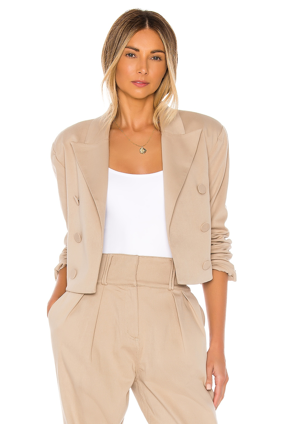 GRLFRND Power Crop Blazer in Khaki