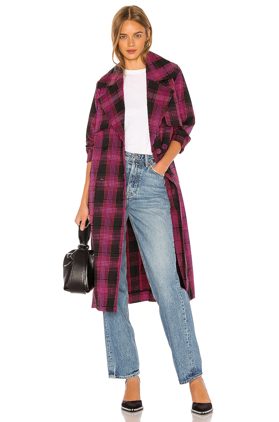 GRLFRND Taylor Midi Trench Coat in Black & Pink Plaid