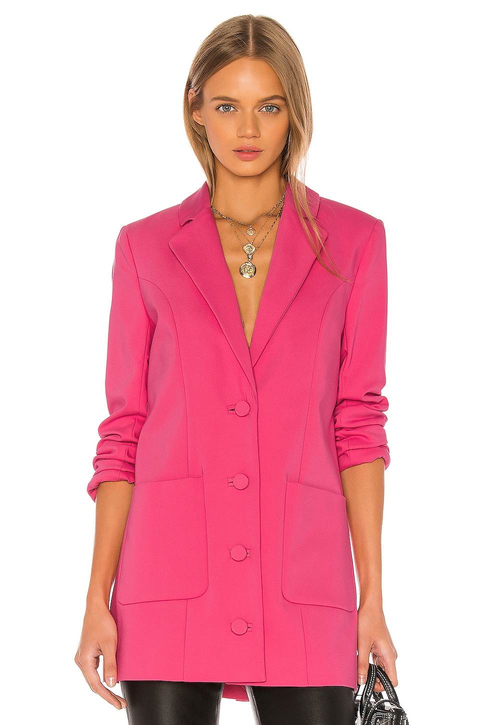 GRLFRND Jeane Suit Jacket in Bright Pink