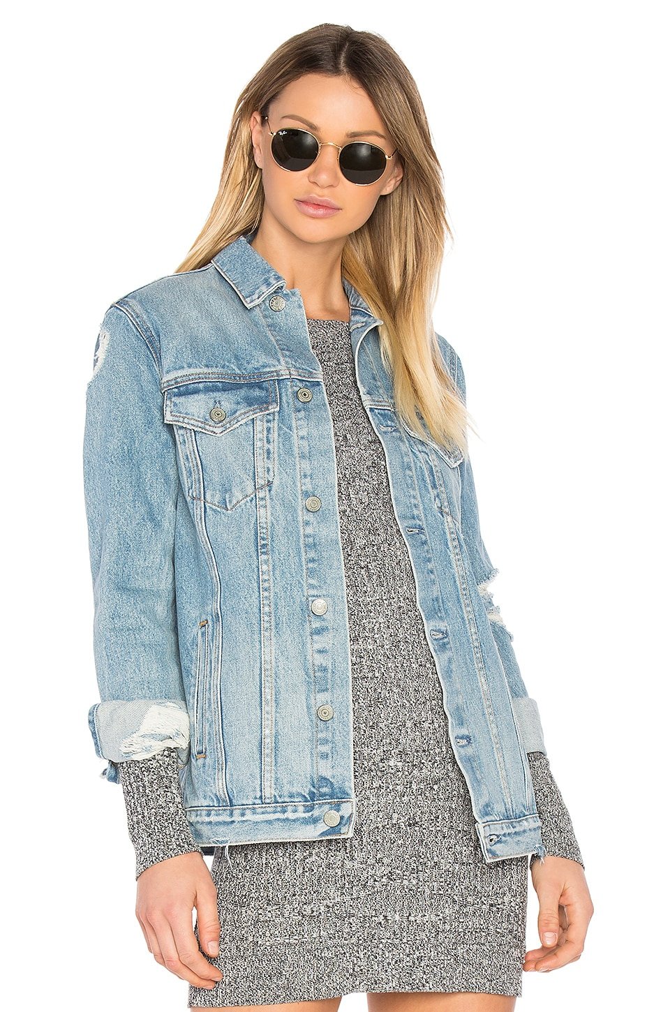 GRLFRND Daria Customizable Oversized Denim Trucker Jacket in You & I