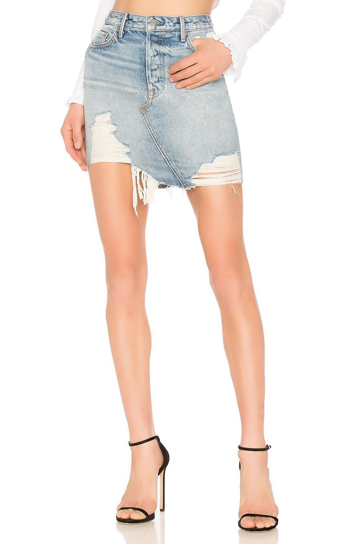 GRLFRND Rhoda High Low Mini Skirt in Lava Bed