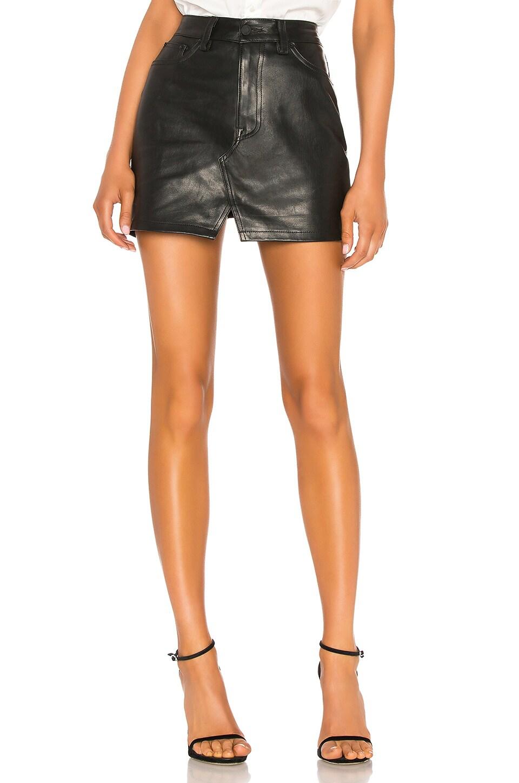 GRLFRND Zamira A-Frame Gusset Leather Skirt in Midnight Hour