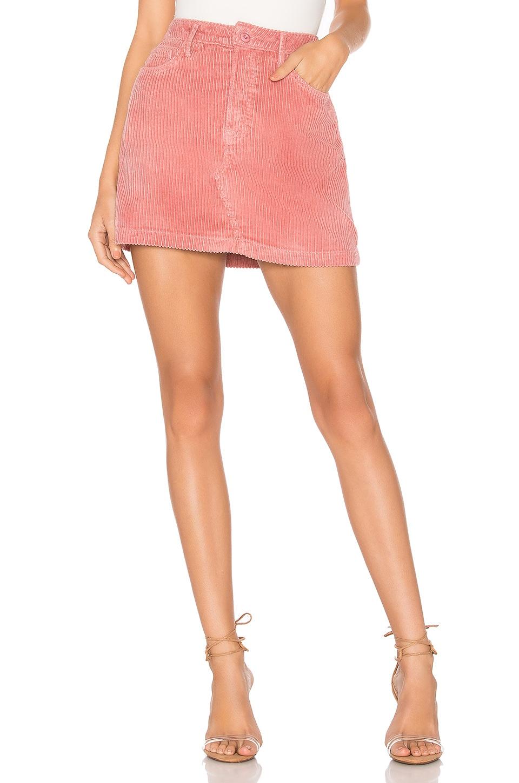 GRLFRND Zamira A-Frame Gusset Corduroy Skirt in Last Rose