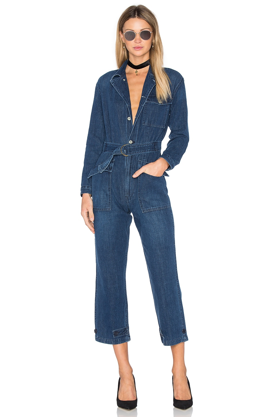 GRLFRND Abbey Denim Flight Suit in Atomic