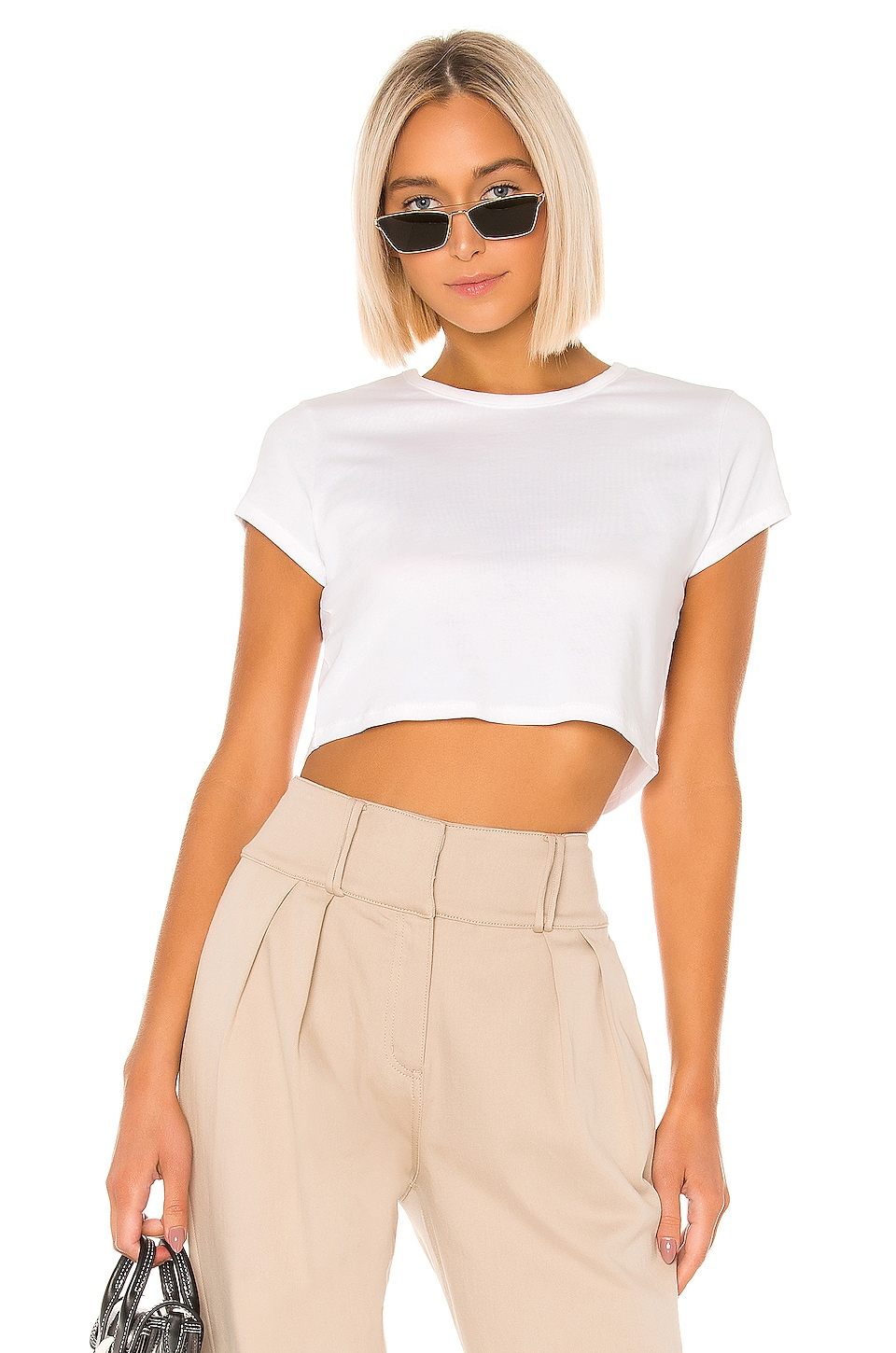 GRLFRND Little Cropped Tee in White