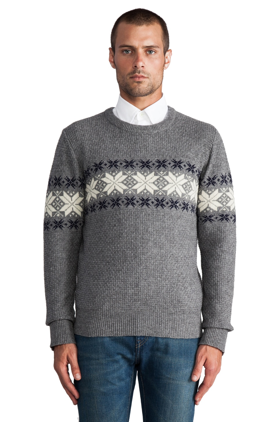 GANT Rugger Flakey Sholder Sweater in Dark Grey Melange