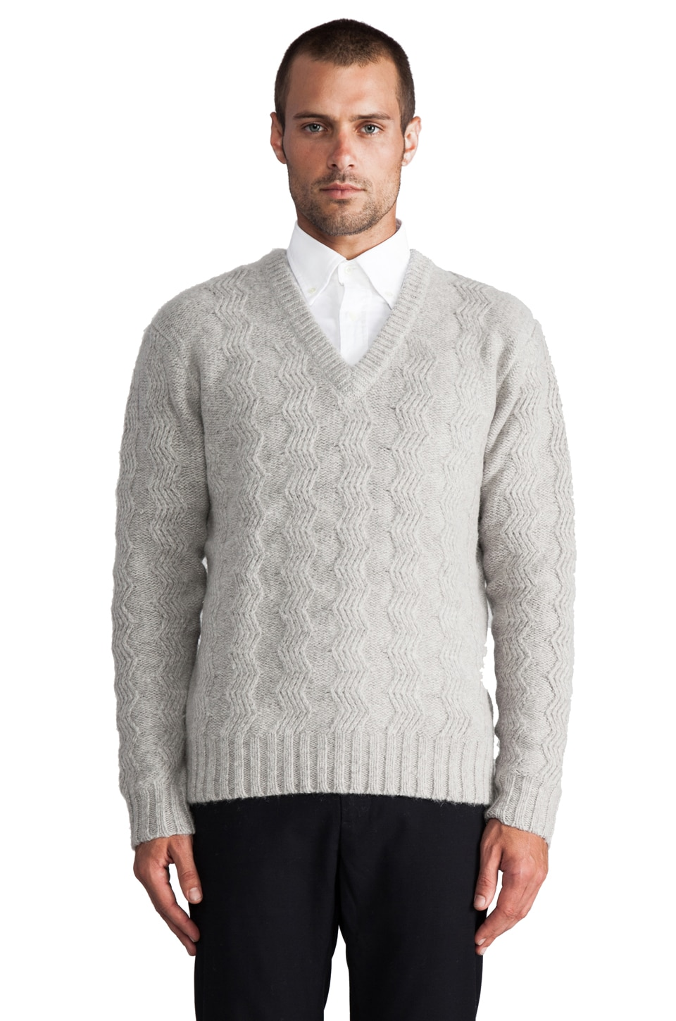 GANT Rugger Zig Sag Sweater in Light Grey Melange