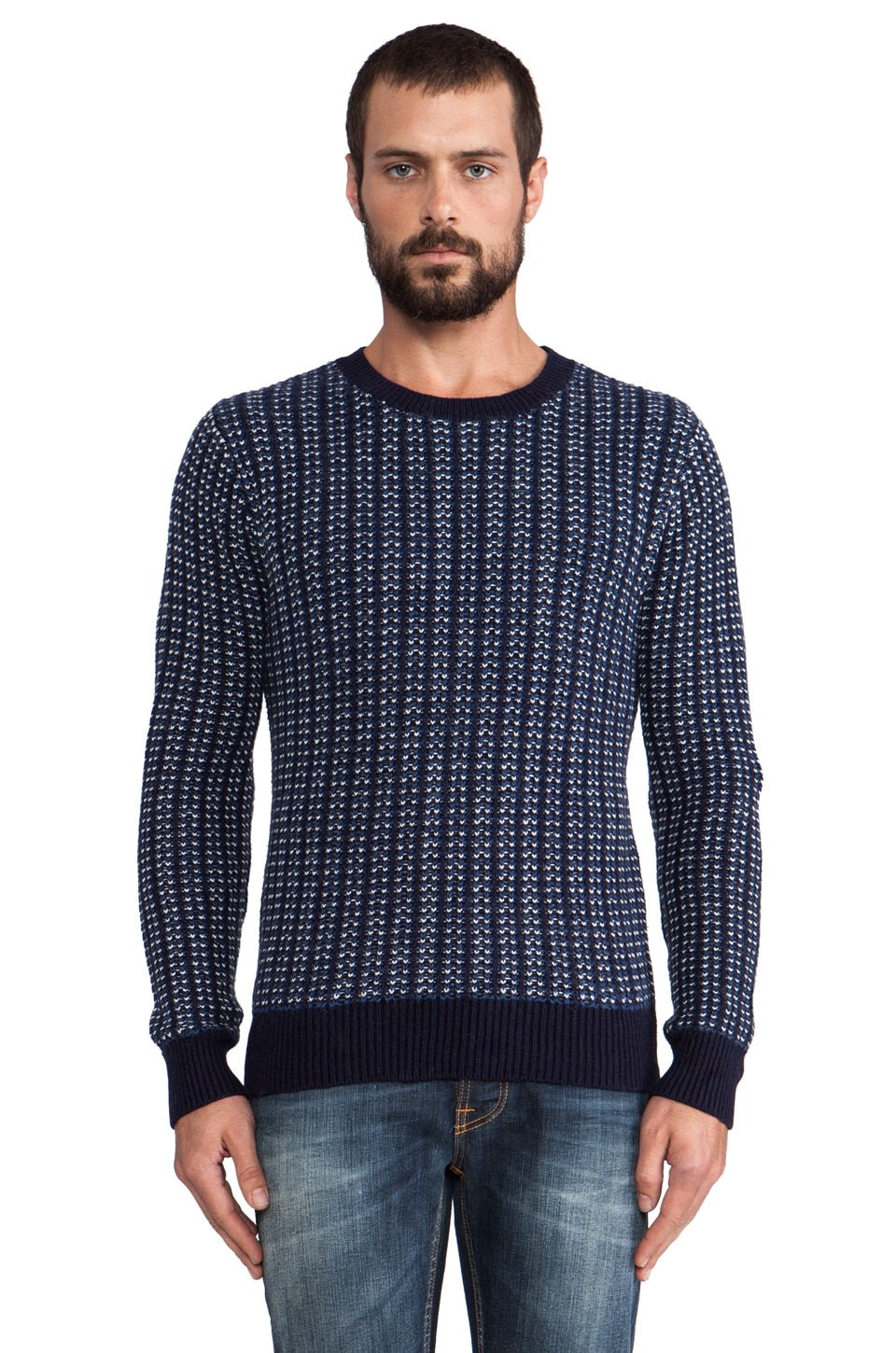GANT Rugger Fisherman Crew Knit in Navy