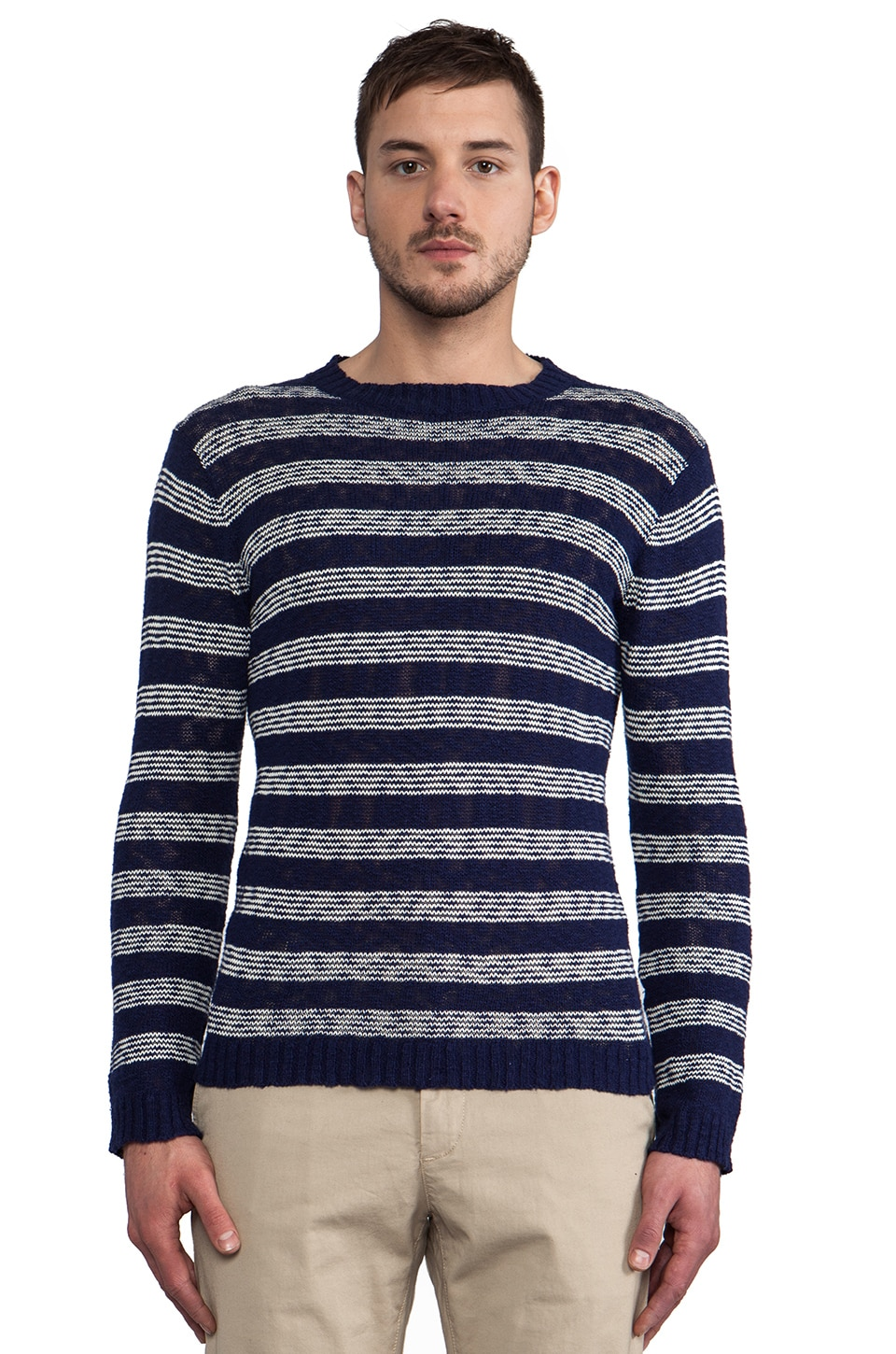 GANT Rugger The Slubber Pullover in Navy Stripe