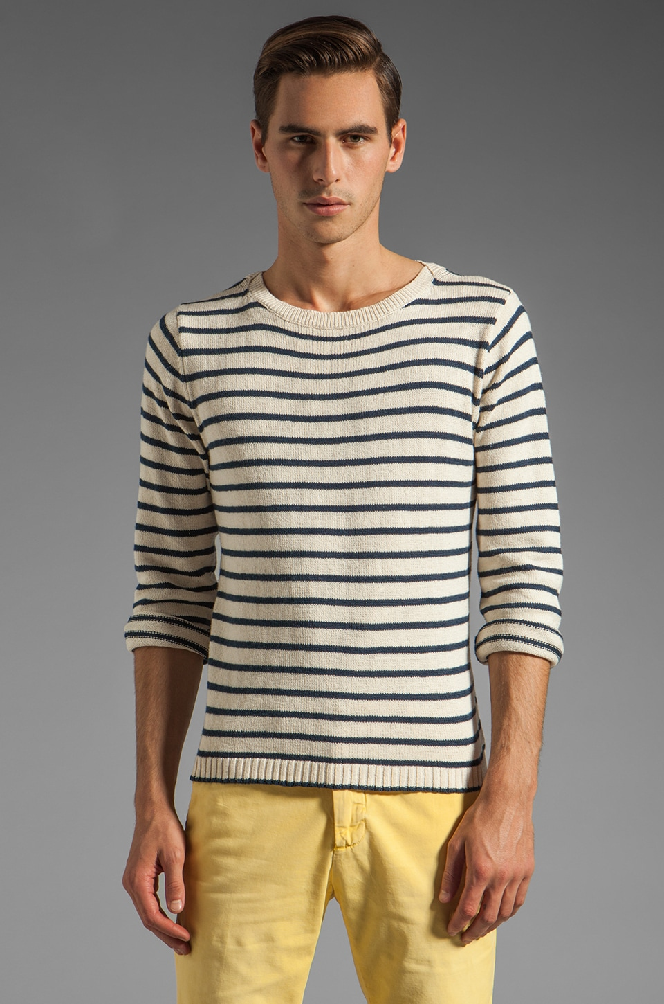 GANT Rugger Breton Split Crue Sweater in White