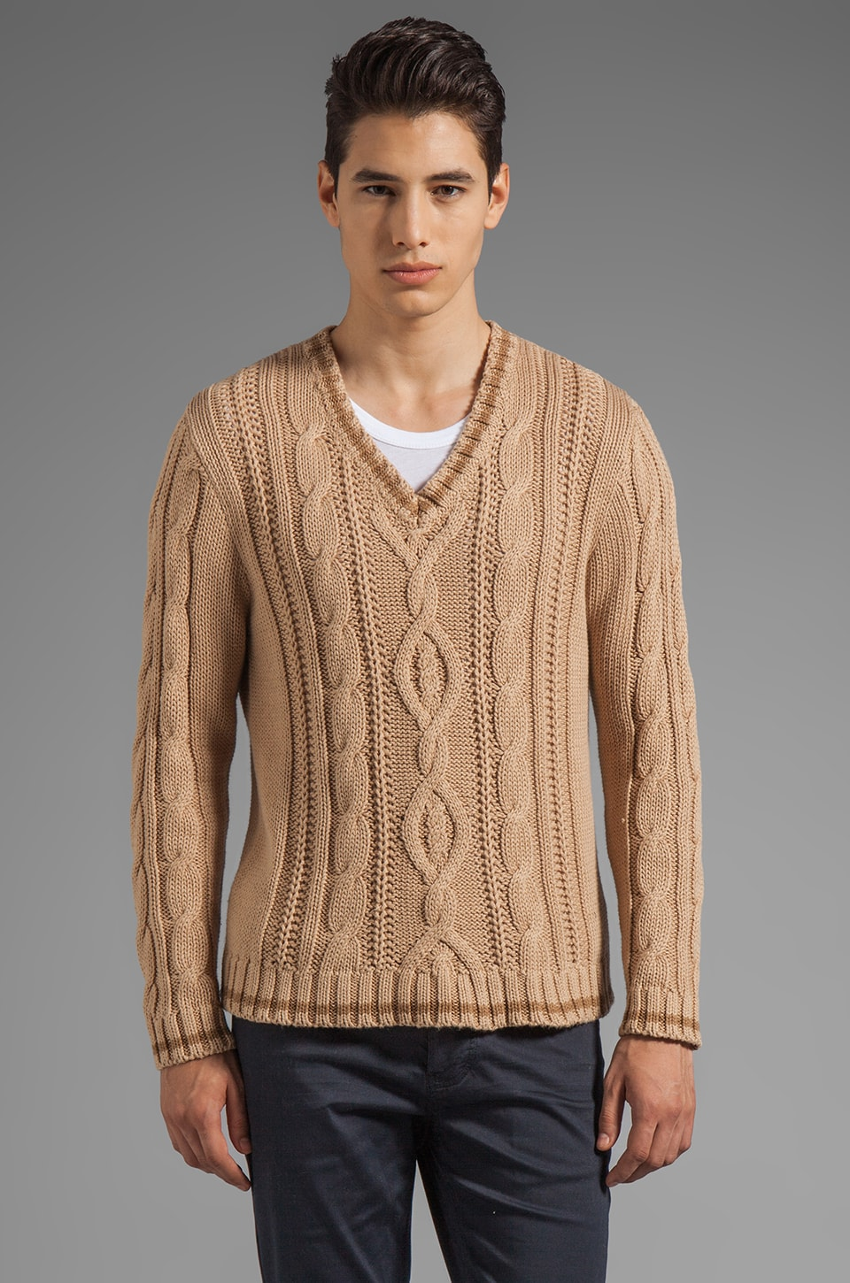 GANT Rugger Loose Cable Knit Sweater in Bisquit