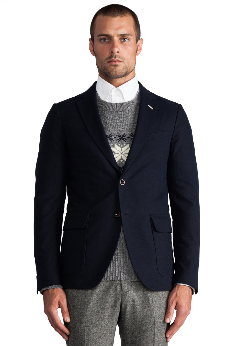 GANT Rugger Fall Canvas Unconstructed Blazer in Storm Blue