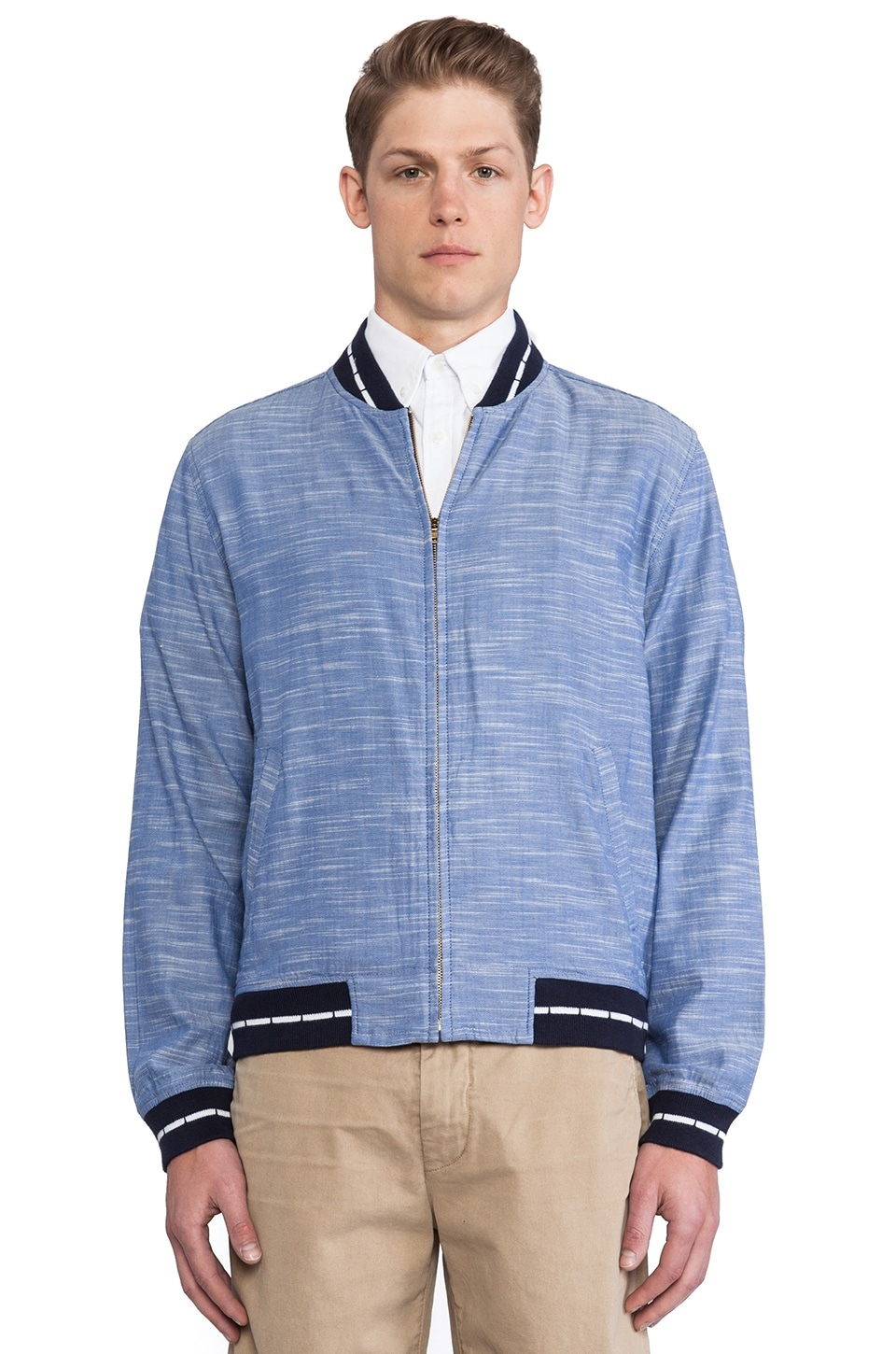 GANT Rugger Chambray Varsity Jacket in Indigo