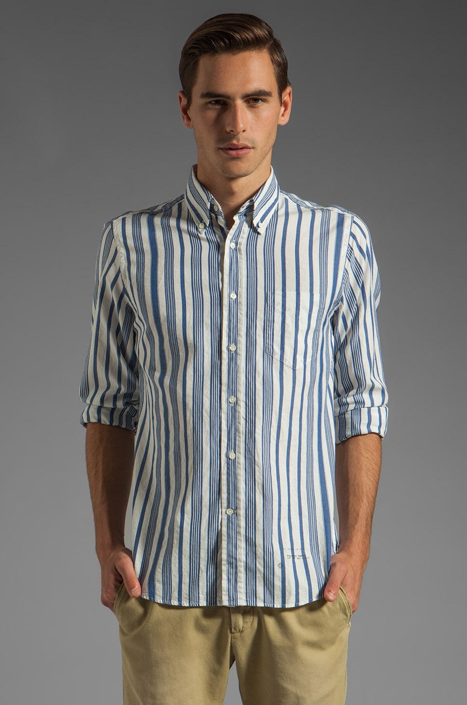 GANT Rugger Dreamy Oxford Awning Stripe HOBD Shirt in Blue/White Stripe