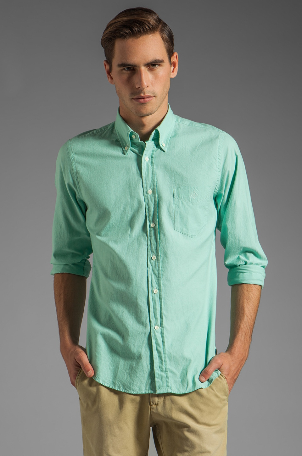 GANT Rugger Dreamy Oxford Solid HOBD Shirt in Green