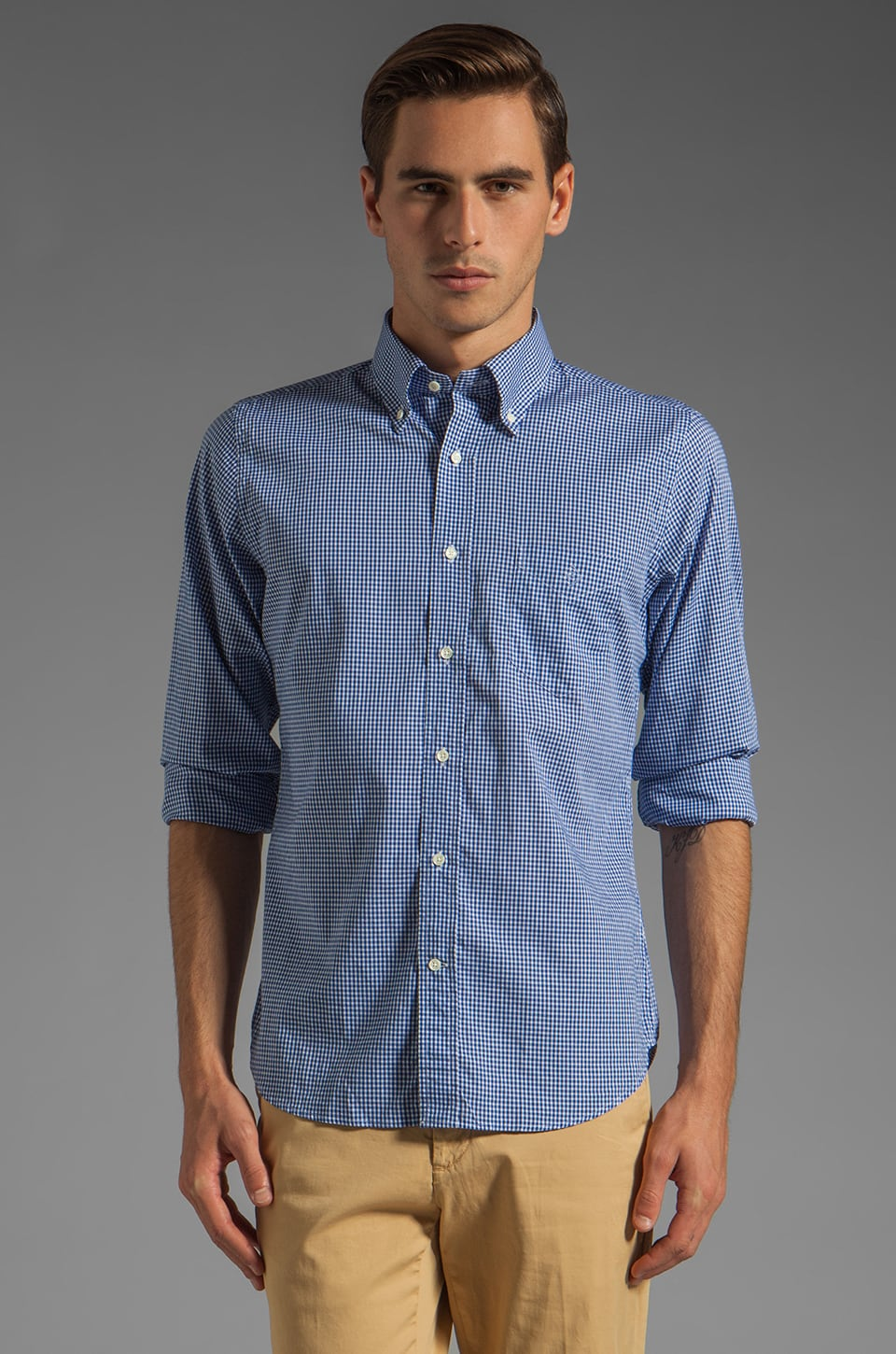 GANT Rugger Imported Fabric Gingham HOBD Shirt in Blue