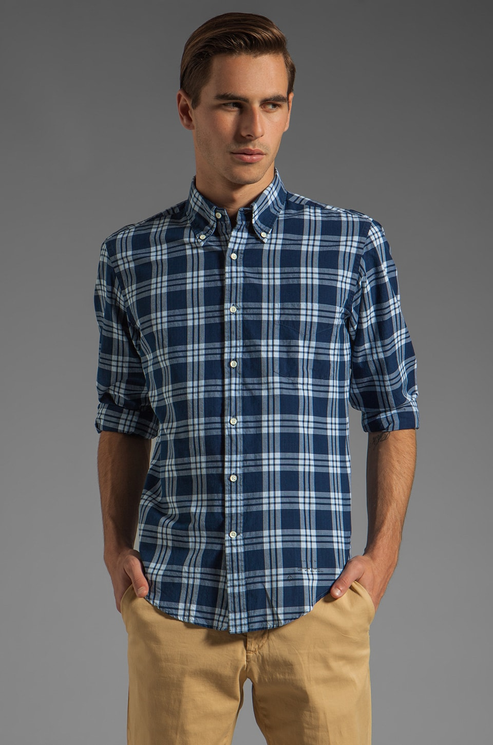 GANT Rugger Indigo Madras E-Z OBD Shirt in Navy