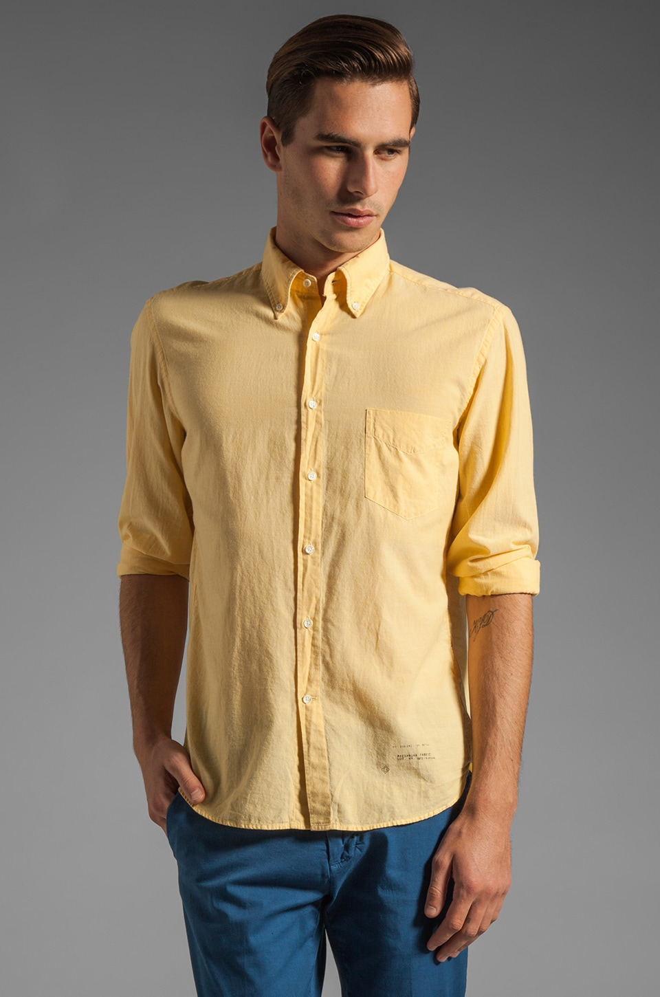 GANT Rugger Selvage Madras E-Z OBD Shirt in Yellow