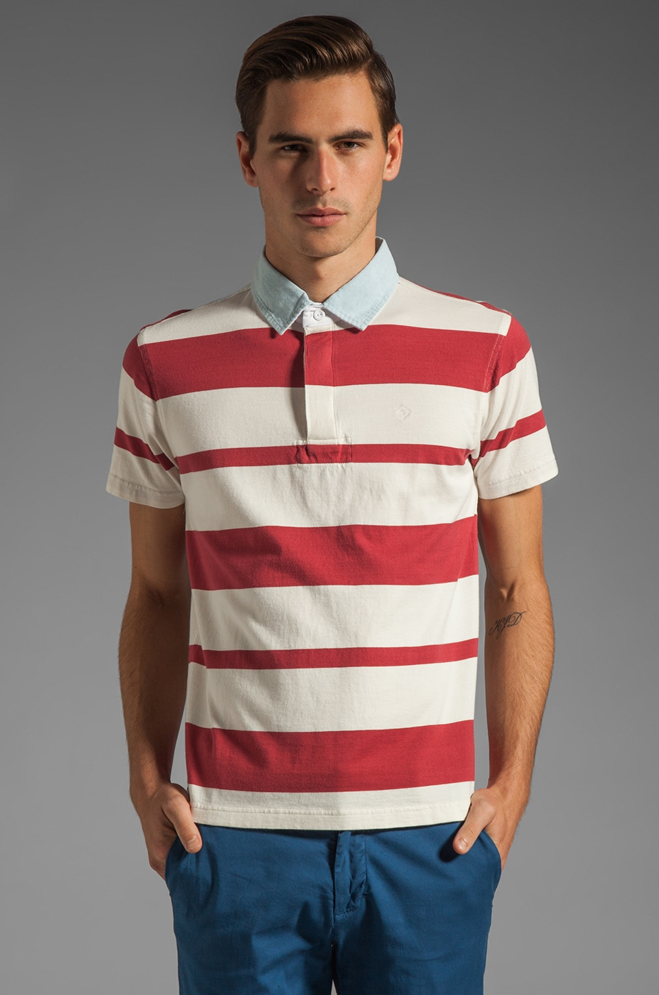GANT Rugger Awning Stripe Heavy Rugger Polo in Red/White