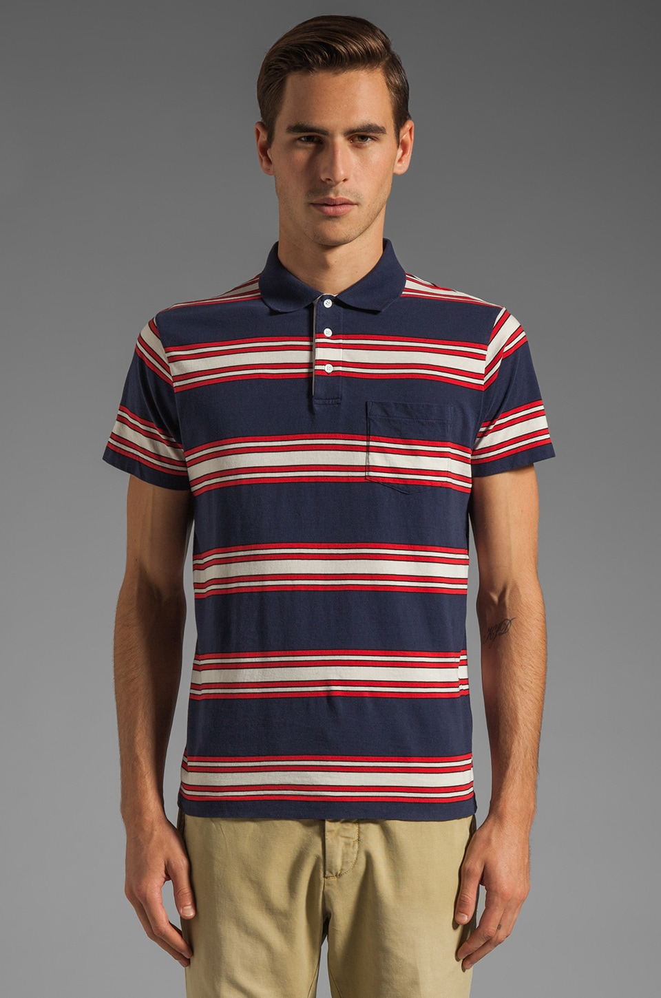GANT Rugger Awning Stripe Polo in Navy