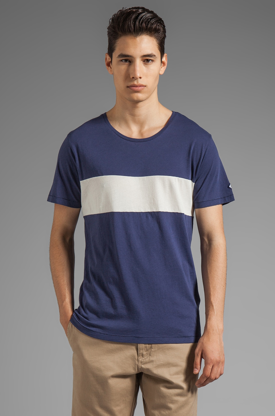 GANT Rugger Cut and Sew Tee in Pilot Blue